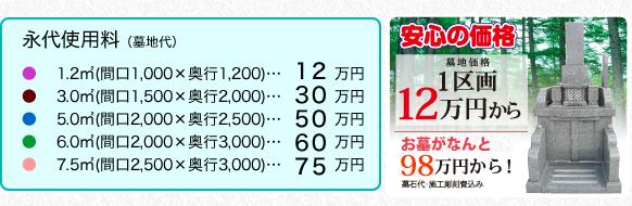 1区画12万円から!お墓がなんと98万円から